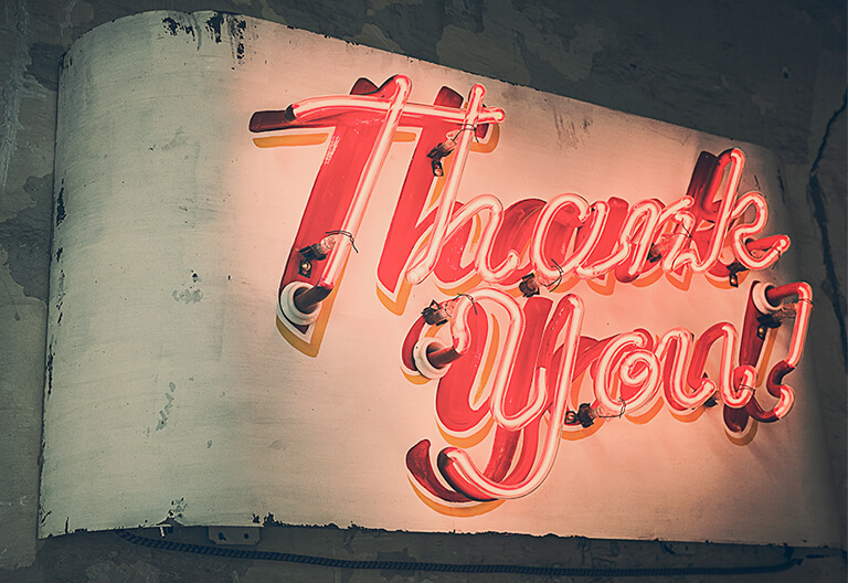 A thank you led signage